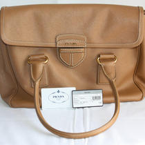 Prada Saffiano Tan Leather Pattina Handbag Purse Tag Very Clean Photo