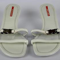 Prada Sandals Size 2 (35) Leather See-Through Silver Seat Belt Buckle Designer  Photo