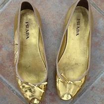 Prada Shoe/ballet Flats Gold Leather Peep Toe W/bow Size 39 Photo