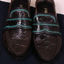 Prada Shoes 1740 Dark Brown Crocodile Skin Teal Accent Vamp Loafer 9.5 42.5 New Photo