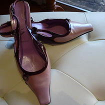 Prada shoes37.5 Sling Back Patent Leather in Pink With Burgundy Trimming  Photo