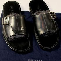 Prada Shoes 495 Black Broad Strap Leather Logo Ornamented Sandal 10 43e New Photo