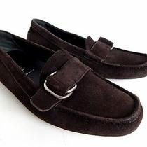 Prada Shoes 5.5 Driving Loafers Brown Suede Slip on Moccasins Italy 35.5 Womens Photo