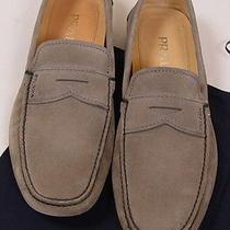 Prada Shoes 595 Gray Logo Ornamented Contrast Stitch Penny Driver 9.5 42.5e New Photo