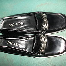 Prada Shoes 700 Black Buckle Logo Iconic Sole Loafers M 7.5 W 9.5 Eur 40.5e New Photo