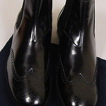 Prada Shoes 755 Black Logo Ornamented Stacked Heel Wing-Tip Boot 10.5 43.5e New Photo