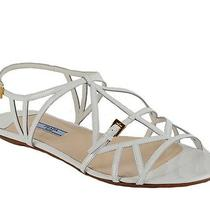 Prada Shoes Gladiator Flats Sandals Strappy White Leather Sz 41 / 11 Photo
