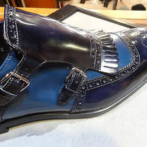 Prada Shoes Navy Blue Baby Blue Spectator Monk Strap Wing Tip 9 Only Photo