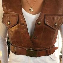 Prada - Short Brown Belted Leather Vest - Very Hip Photo