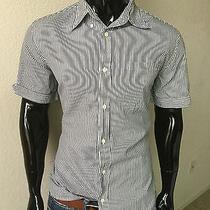 Prada Short Sleeve Dk Gray/white Stripe Dress Shirt Size 42 Small Photo