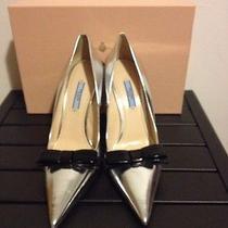 Prada Silver Black Leather Pointed Toe Bow Wedding Shoe Size 40 M Photo
