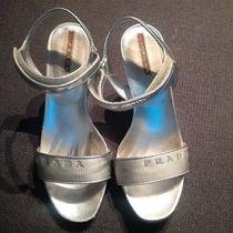 Prada Silver Wedge Sandals 36 6 Logo  Photo