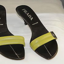 Prada Slides Brown Chartreus Gently Worn Authentic Temp. Reduced Photo