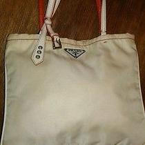Prada Small Tote Bag Purse Cream Nylon Cream & Orange Leather Trim Italy  Photo
