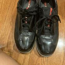 Prada Sneakers Womens Black Patent Leather Size 40 Bowling Shoes Photo