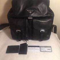 Prada Soft Calf Double Pocket Leather Nero Backpack Photo