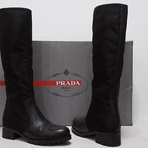 Prada Sport Black Leather and Nylon Heel Boots Shoes 37.5/7.5 890 Photo