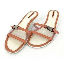 Prada Sport Pvc Buckle White/orange Kitten Heel Sandals Size 38.5 Us 8.5 Slides Photo