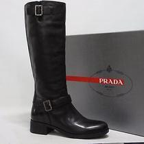 Prada Sport Riding Black Leather Heel Boots Shoes 35/5 990 Photo