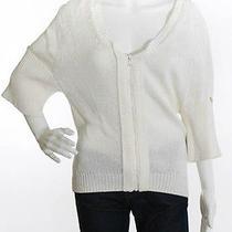 Prada Sport White 3/4 Sleeve Zip Up Cotton Cardigan Sweater Sz 40 Photo