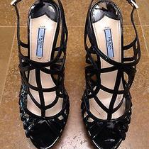 Prada Strappy Black Patent Leather Platform Sandal Size 39 Photo