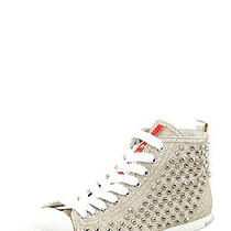 Prada Studded Glitter Lace Up High Top Sneakers Shoes Pirite Size 38 Nib 640 Photo