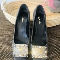 Prada Suede Embellished Suede Pumps 37 1/2 Gold & Silver Studs and Crystals Photo