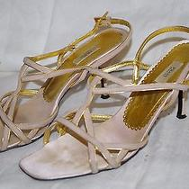 Prada Suede Shoes Sandal Blush Pink & Gold Size 38 Italy Photo