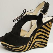 Prada Suede Tiger Print Calf Hair Peep Toe Platform Wedge Pumps Sandals Shoes 39 Photo