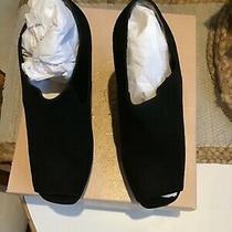 Prada Suede Wedge Peep Toe Bootie Black Size 38.5 New in Box Photo