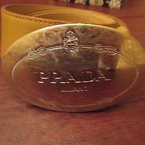 Prada Tan Leather Belt Logo Silver Oval Buckle 1.5
