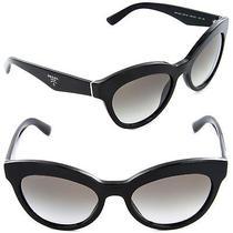 Prada Triangle Sunglasses Spr 23qs 1ab-0a7 Black / Grey Gradient Lens Photo