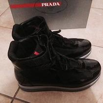 Prada Vernice Bike High Top Black Leather Double Sole Sneaker Photo