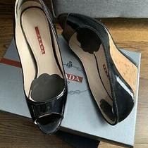Prada Vernice Black Patent Peep Toe Wedge Size 38 Photo