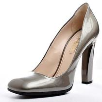 Prada 'Vernice Taffeta' Gunmetal Pumps 37.5 7.5 Nib Photo