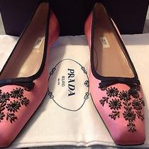 Prada Vero Cuoio Authentic Pink Sillk Low Flats - 38 1/2 Photo