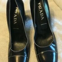 Prada Vero Cuoio Black Leather High Heel Pumps Us Size 38.5 Photo