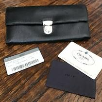 Prada Vitello Daino Black Checkbook Wallet Black Photo