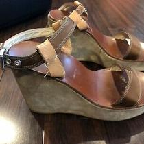 Prada Wedge Platform Open Toe Sandals 38 1/2 Super Sexy Satin Suede Leather  Photo