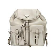 Prada White Calfskin Double Front Pocket Backpack Silver Tone Hardware Photo