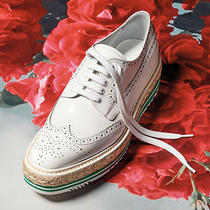 Prada Wingtip Brogue Platform Espadrille Sneakers Oxford Shoes Women Us 7 Eur 37 Photo
