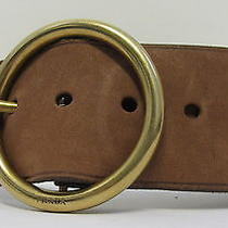 Prada Woman's Brown Suede Wide Belt W/ Large Gold Tone Circle Buckle Size 30/75 Photo