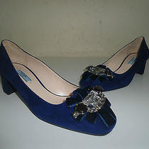 Prada Woman Shoes Blue Suede Size 7 Shoes Made in Italy Pumps Photo