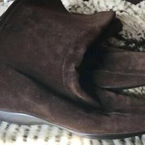 Prada  Womens 38.5 Brown Suede Fashion Boots With Wedge Heel Back Zipper Photo