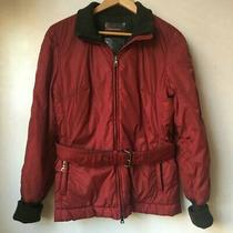 Prada Women's Belted Puffer Jacket Red Uk10  Gloves  Scarf Quick Sale Photo