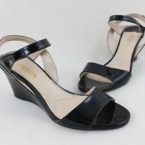 Prada Women's Black Patent Leather Wedge Sandal Heel Shoe Size 38 8 Photo