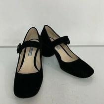 Prada Women's Black Velvet Mary Jane Pumps Heels Size 37 Photo