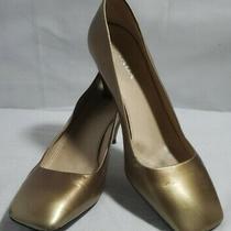 Prada Women's Bronze Square Toe Heels Eu Size 38.5 Us Size 5.5w 8m Photo