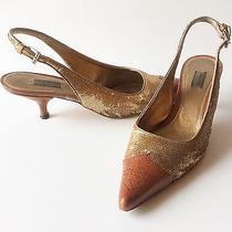 Prada Women's Gold & Brown Shoes Kitten Heels Pointy Toe Slingbacks 36 / Us 6 Photo