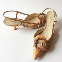 Prada Women's Orange/natural Shoes Kitten Heels Pointy Toe Slingbacks 36/us 6 Photo
